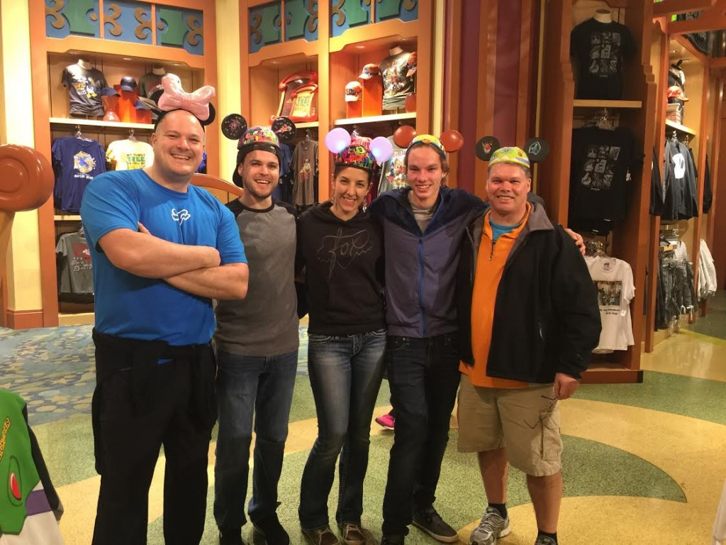 Enjoying a few laughs at the Disney store: MX101's Kevin Tyler and Johnny Grant (outside left and right); Chris Holliday and Nicole MacDonald (middle left) and me, the author, Dylan Wright).