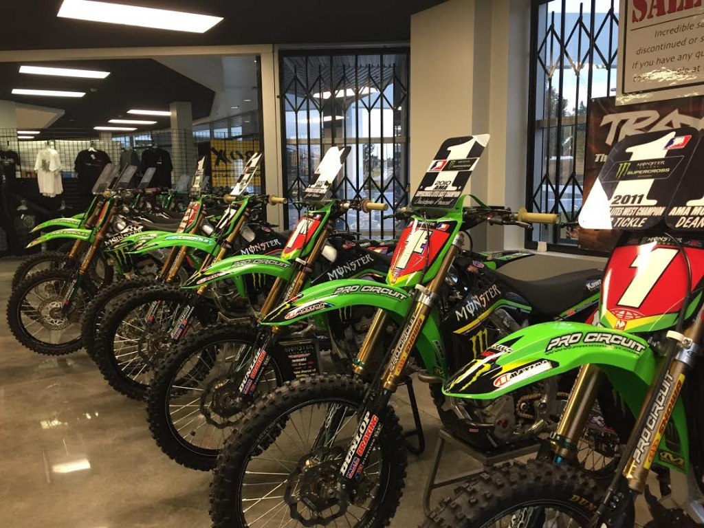 Championship bikes lined up at Pro Circuit's headquarters.